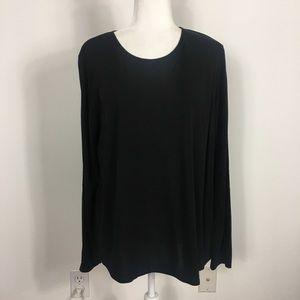 Eileen Fisher Black 100% Silk Long Sleeve Blouse